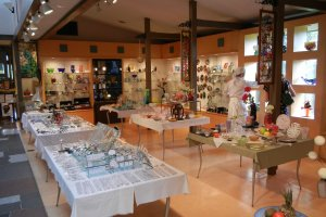 A view of the gift shop, with homemade glass items