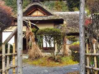 The rustic tea house in the garden