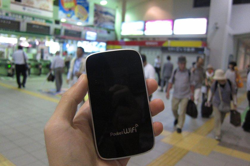 Pocket Wi-Fi na estação JR Akita