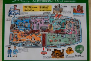 A map of the permanent exhibition - it is based on the history and life of Fukuoka