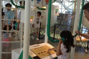 Nearly all the exhibits at the museum are interactive. This contraption allows you to experiment with sound.