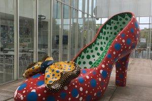 A shoe by Japanese artist Yayoi Kusama