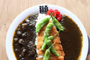 Katsu and beef curry with shishito pepper topping