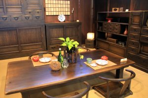 Hand crafted natural wood furniture at Hida Sangyo