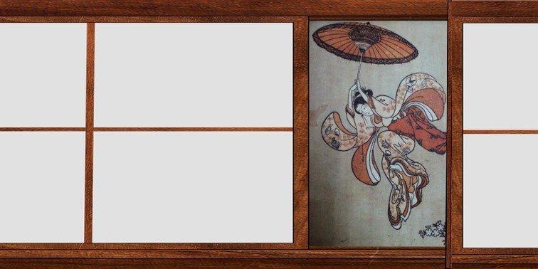 鈴木春信(1756年)《從清水寺高台上躍下的美人》中版錦繪(局部)