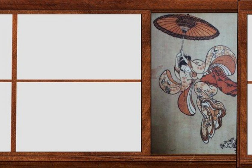 铃木春信(1765年)《从清水寺高台上跃下的美人》中版锦绘(局部)