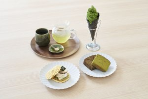 Matcha tea and snacks