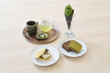 Matcha tea and snacks
