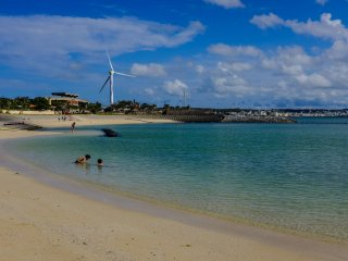 Like many other beaces on Okinawa the blue water is beautiful and inviting
