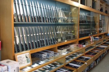 Hundreds of knives on display