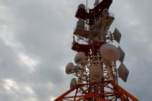 Communications tower at the summit
