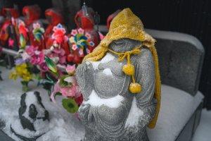 A snow covered statue in Aomori City