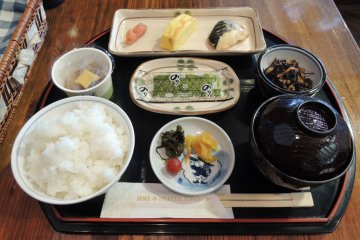 Breakfast is Japanese style, including free refills for rice and miso soup