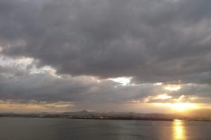 The sun rises on Lake Biwa