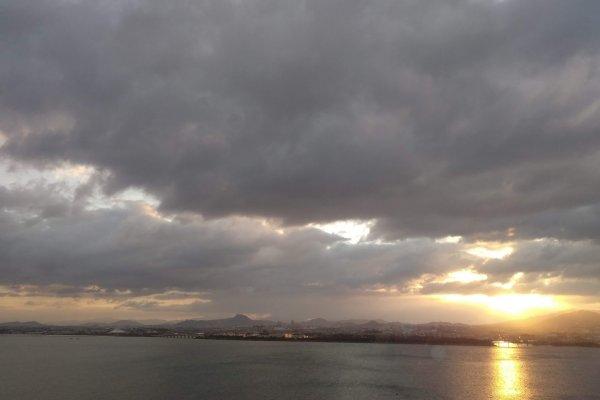 The sun rises on Lake Biwa
