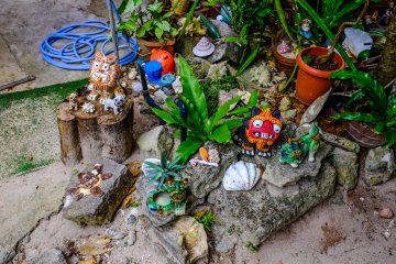 Colorful traditional Okinawan decorations throughout the village