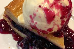 Blueberry cheesecake pie a la mode is the perfect ending to a delicious meal.