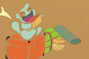 Mascote com mercadorias - teste com fundo dourado