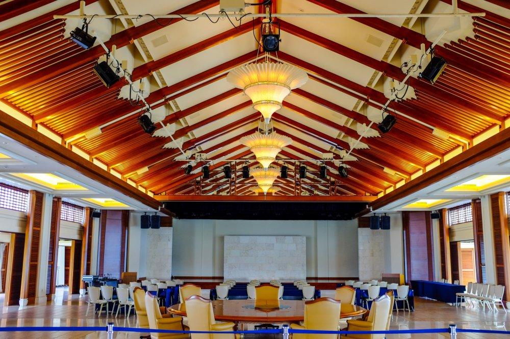 Okinawan craftwork inside the Summit Hall