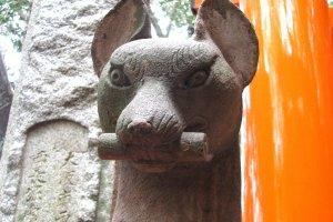 Кицунэ Мёбу в храме Фусими Инари