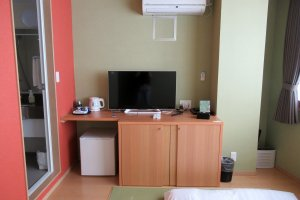 Each room has TV, air conditioning, fridge and electric kettle
