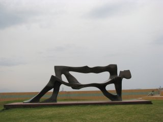 A stylish bench-like sculpture
