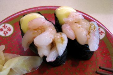 Sushi with creamy sauce and shrimp
