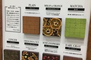 Vegan chocolate that look like artistic tiles.