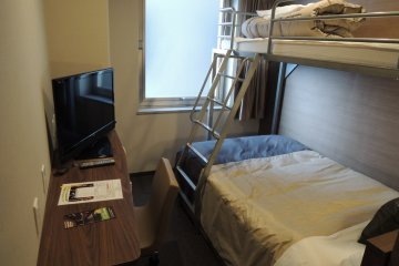 Economy twin has a bunk bed