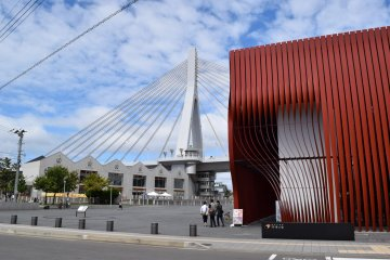 The red building is the museum - very distinctive architecture!