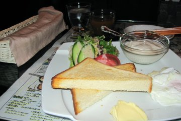 """Featured here is the """"Natural"""" breakfast with toast, mini salad, mashed potatoes and yogurt."""