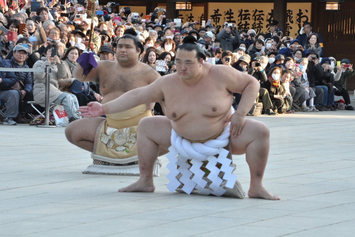 Kisenosato performing a ritual dance in his role as yokozuna