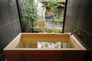 Private onsen attached to a room