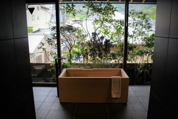 Private onsen bath with Kyoto street views