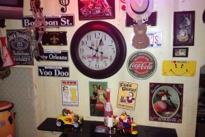 Musical instruments and M&Ms decorations mix with signs of Bourbon Sstreet and Coca Cola