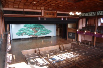 The interior with the traditional pine tree backdrop.