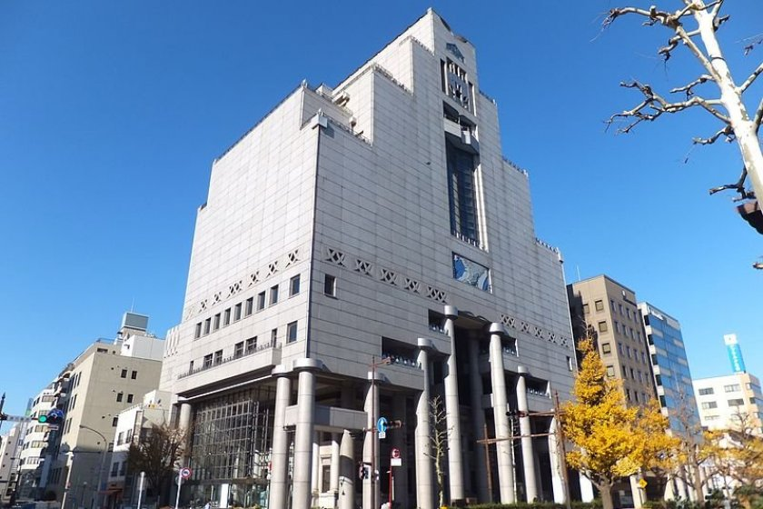 The museum wrapped around the old Kawasaki Bank building