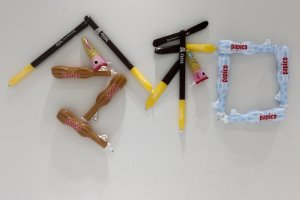 Inflatable sweets toys spell out Riewa era name