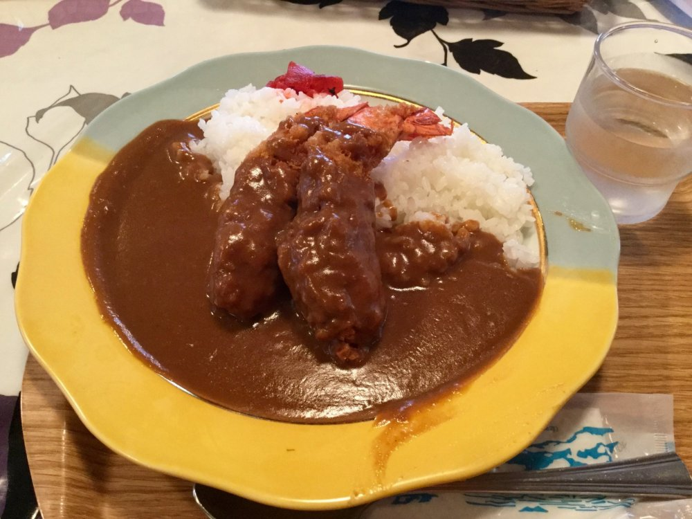 Fried prawn curry rice.