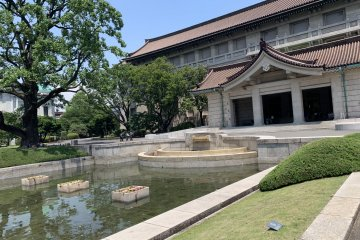 An up-close shot of Hankon and the pond in front of it.