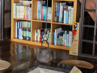 Inside the house there are some period pieces as well as books from and about Ghibli movies