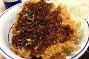 Tonkatsu topped with Katsuya's special sauce.