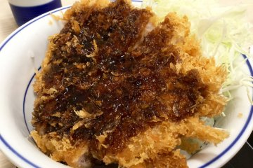 Tonkatsu topped with Katsuya's special sauce.