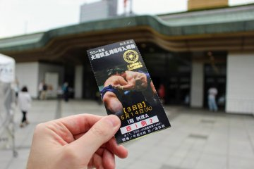 Outside with entry ticket