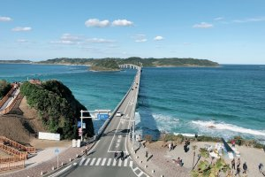 Tsunoshima Ohashi bridge and shining ocean