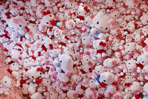 Hello Kitty photo wall in gallery