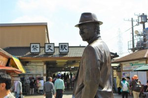The famous Tora-san statue outside of Shibamata Station