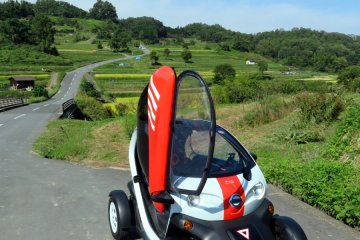 Michimo Nissan electric car in Kashihara countryside.