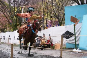 Yabusame archer firing at his target in Sumida Park