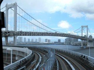 Rainbow Bridge with the Yurikamome Monorail track